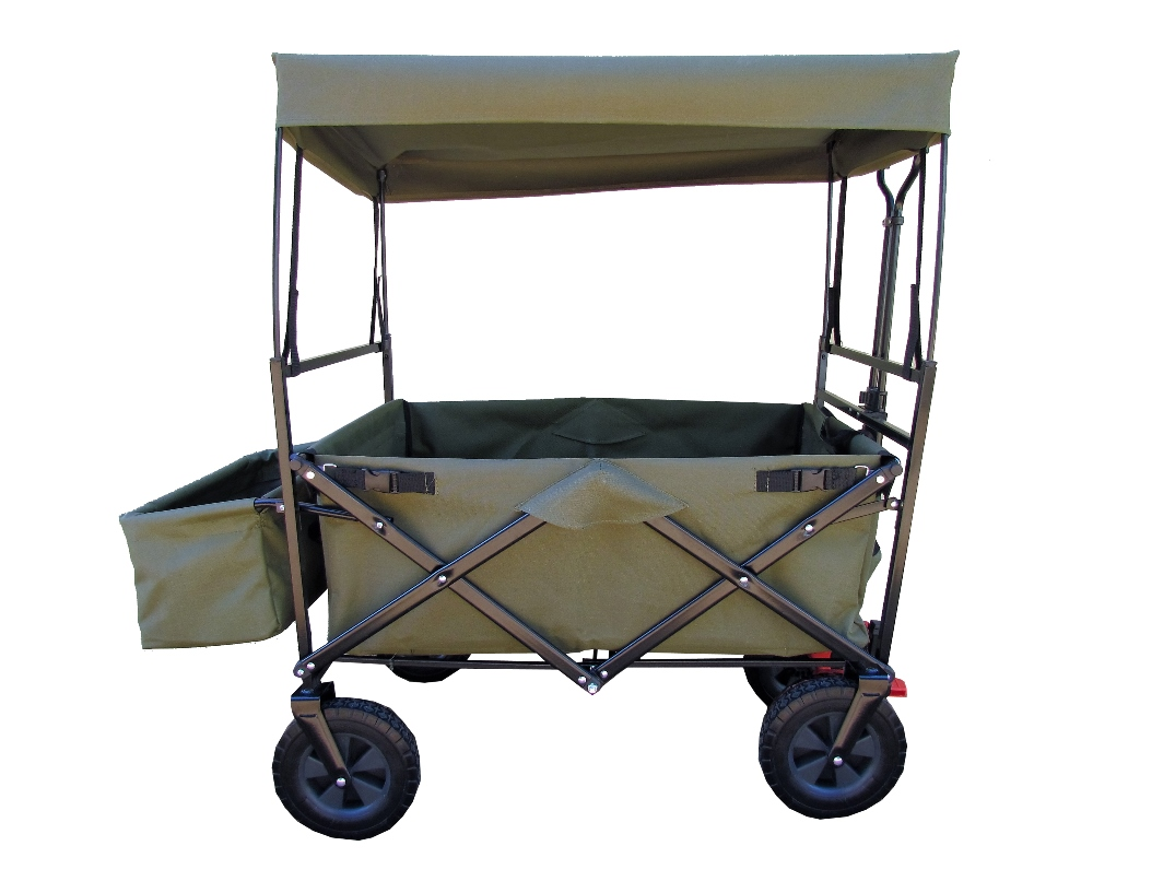 camouflage trolley with roof unfolded